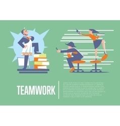 Teamwork banner with business people vector image vector image
