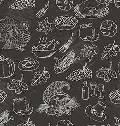 Thanksgiving seamless pattern sketch doodle Hand vector image