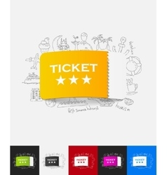 ticket paper sticker with hand drawn elements vector image vector image