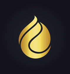 Waterdrop abstract eco gold logo vector