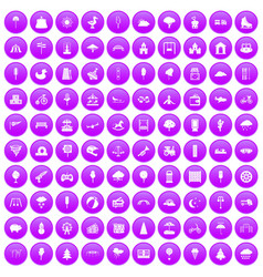 100 childrens park icons set purple vector image vector image