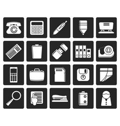 Black simple office tools icons vector