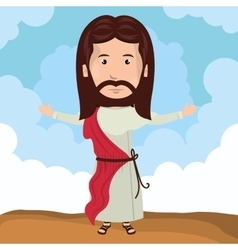 Cartoon jesus christ bless design vector