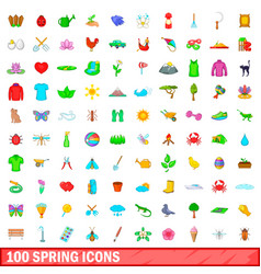 100 spring icons set cartoon style vector