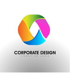 Colorful corporate logo hexagon icon vector