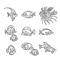 Cute sea fishes outlined isolated on a white vector