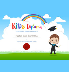 Colorful kids diploma certificate template in vector