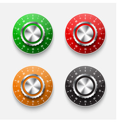 Set of mechanical safe locks with a colored vector