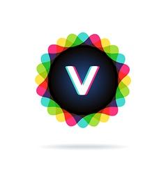 Retro bright colors logotype letter v vector