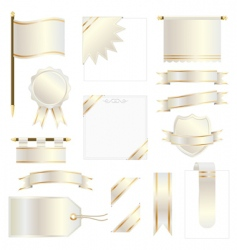 Gold flags and ribbons vector