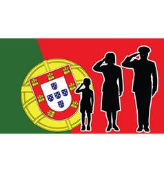 Portugal soldier family salute vector