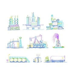 Production storage of oil transportation drawings vector