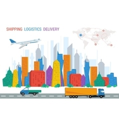 Logistics town road plane trucks world map vector