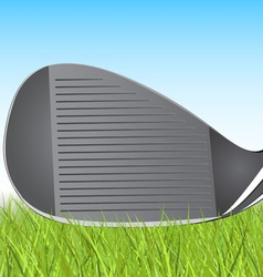 Golf club iron in the grass vector