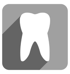 Tooth flat square icon with long shadow vector