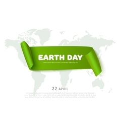 Earth day concept with green paper ribbon banner vector