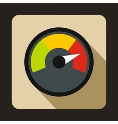 Speedometer at maximum speed icon flat style vector image