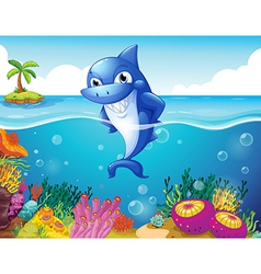 A shark in the deep sea smiling vector image vector image