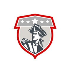 American patriot looking up shield retro vector