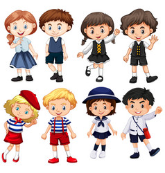 boys and girls in cute costumes vector image vector image