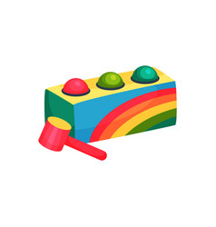 Colorful box with three balls and hammer children vector