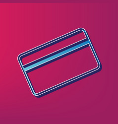Credit card symbol for download blue 3d vector