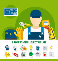 Electrician flat icons set vector
