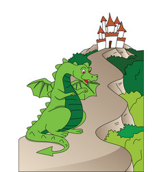 Flying dragon and castle vector