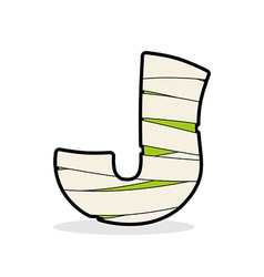 Letter j mummy typography icon in bandages vector