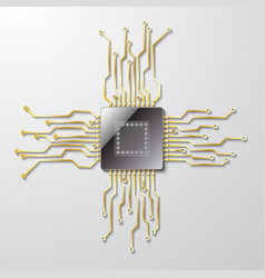 Microchip on a gray background vector