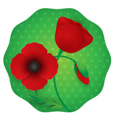 Paper flower realistic style of red vector