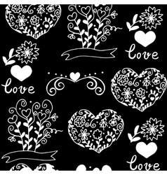 pattern with hearts flowers and other elemets vector image