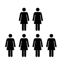 people icon group of women team pictogram symbol vector image vector image