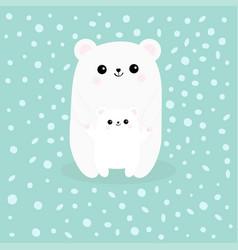 polar white small little bear cub reaching for a vector image