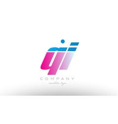 qi q i alphabet letter combination pink blue bold vector image