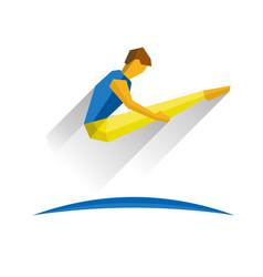 trampoline gymnastics jumping sportsman vector image vector image