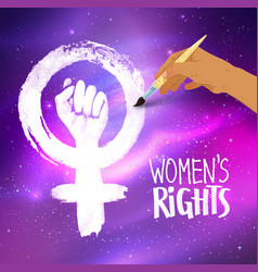 Woman hand drawing feminism protest symbol vector