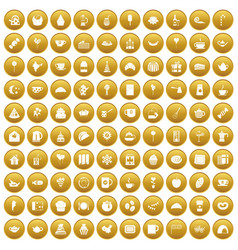 100 tea party icons set gold vector