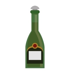 Green bottle champagne plastic cork vector