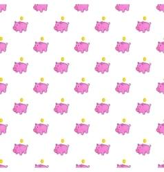 Pink piggy bank pattern cartoon style vector image