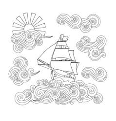 Contour image of ship on the wave cloud sun in vector