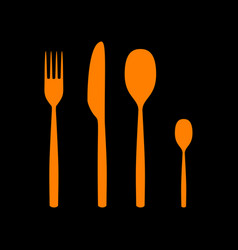 fork spoon and knife sign orange icon on black vector image