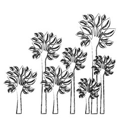 Silhouette blurred set palms with trunk in hands vector