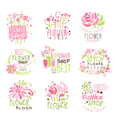 flower shop green and pink colorful graphic design vector image