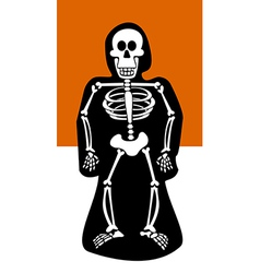 Halloween background skeleton dressed in black vector