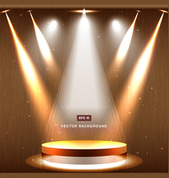 Gold stage with spotlight and star on wood vector