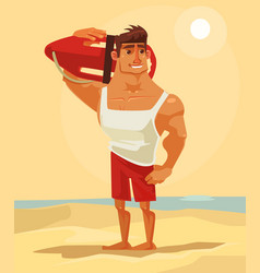 Happy smiling sea lifeguard man character mascot vector
