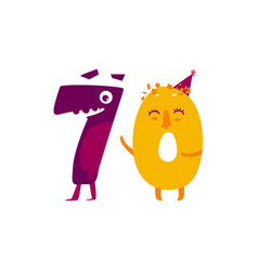Cute animallike character number seventy 70 vector