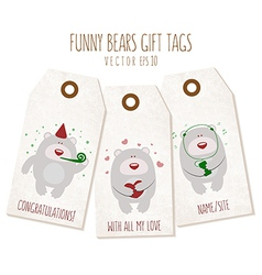 Set of funny bears gift tags on textured backgroun vector