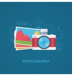 Camera and pictures vector image